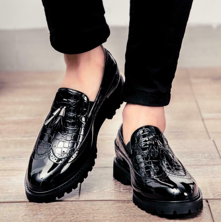 New Brogue Wing Tip Mens England Pointy Toe Tassels Slip On Dress Formal shoes