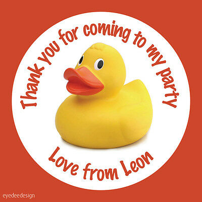 Personalised Bath Rubber Duck Birthday Thank You Stickers Party Sweets Cake-N499