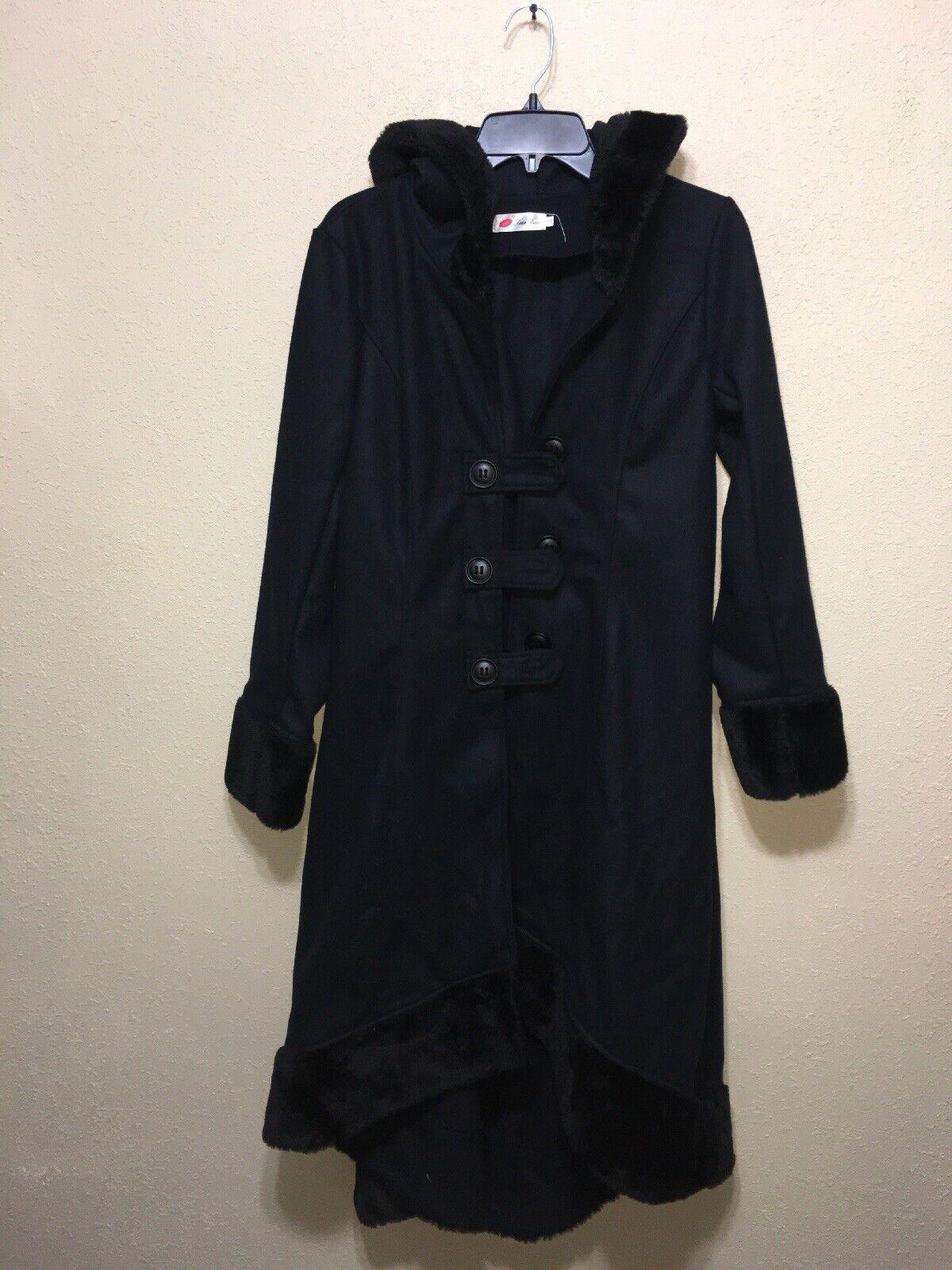 Xian Xian Gothic Black Hooded Jacket Coat Womens Button Up SZ XXL New