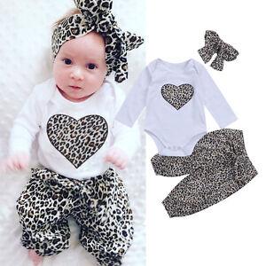 573b92a09ed0 Newborn Kid Baby Girl Leopard Clothes Jumpsuit Romper Bodysuit Pants ...