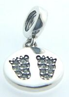 2025-1195 Chamilia Sterling Silver Footprints Pave Baby Feet Charm & Pouch