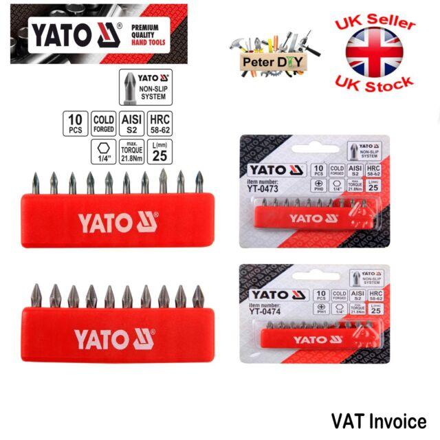 "Screwdriver Bit Set 1//4/"" 10pcs S2 Steel Non-Slip Tech 50mm SL//PH//PZ Yato YT-0483"