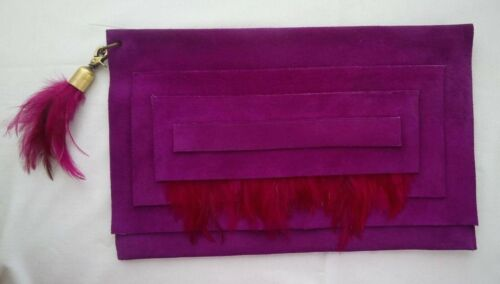 DAVID GALAN Large Byzantium Suede Clutch With Mage