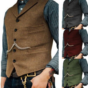 Mens-Tweed-Waistcoat-Vest-Wool-Blend-Herringbone-Notch-Lapel-Silm-Fit-M-3XL