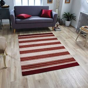 Details about Washable MODERN STRIPED BURGUNDY RED BEIGE Anti-slip Kitchen  Hall Rug Runner MAT
