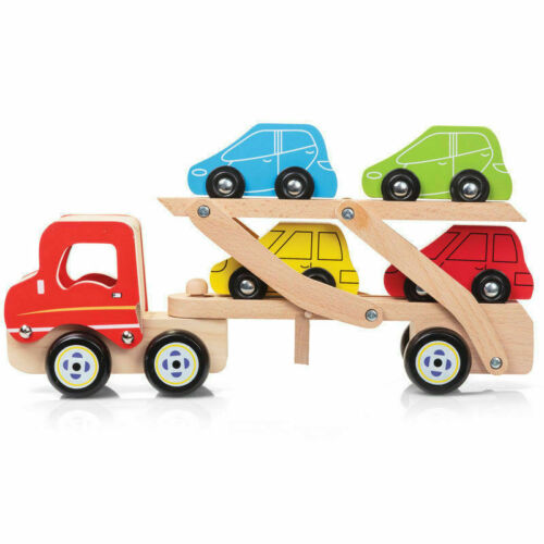 WOODEN CAR TRANSPORTER Baby Wood Carrier Truck Toddler  Kids Toy Christmas Gift