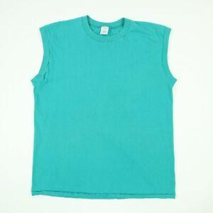 Vtg-90s-JC-Penny-Blank-Plain-Pocket-Sleeveless-T-Shirt-LARGE-Teal-Green-USA-Made