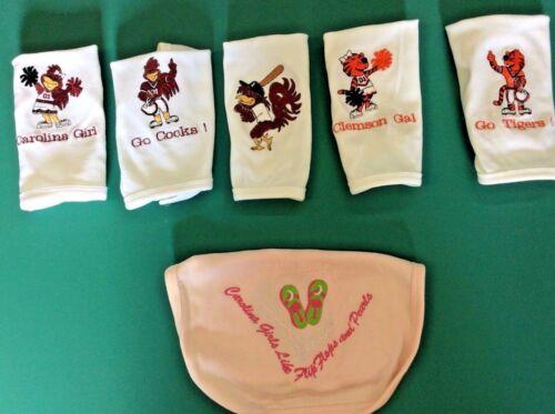 VARIOUS CHOICES CAROLINA GAMECOCKS /& CLEMSON TIGERS BABY BIBS
