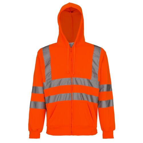 Pullover Warnschutzpullover Pulli Warnschutz Sweatshirt Orange Kaputze MERK-P