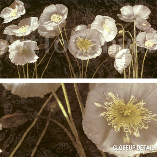 """48/""""x24/"""" BAROQUE POPPIES by IVES McCOLL SEPIA FLORAL CANVAS"""