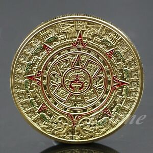 Gold-Plated-Mayan-Aztec-Prophecy-Calendar-Commemorative-Coin-Art-Collection-Gift