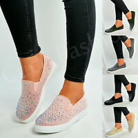 New Womens Ladies Slip On Flat Plimsolls Studded Trainers Pump Shoes Size Uk 3-8
