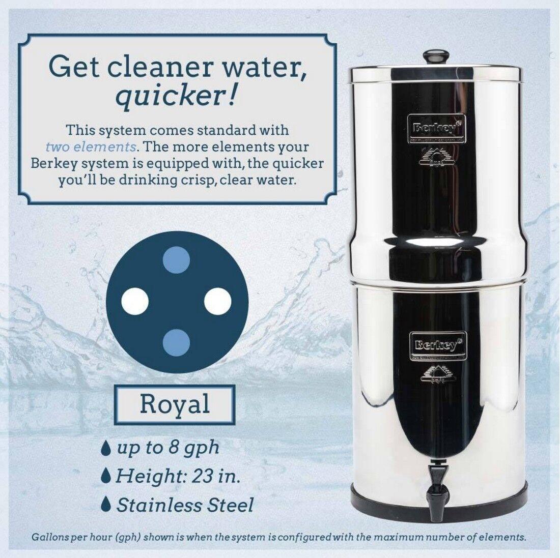 Royal Berkey purification de l'eau Système Avec 2 Noir éléments Filtres  3.25 Gal (environ 12.30 L)