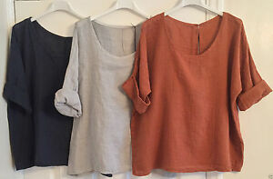 New-Ladies-Italian-BOHO-Lagenlook-LAYERING-Plain-Lightweight-LINEN-Short-Top