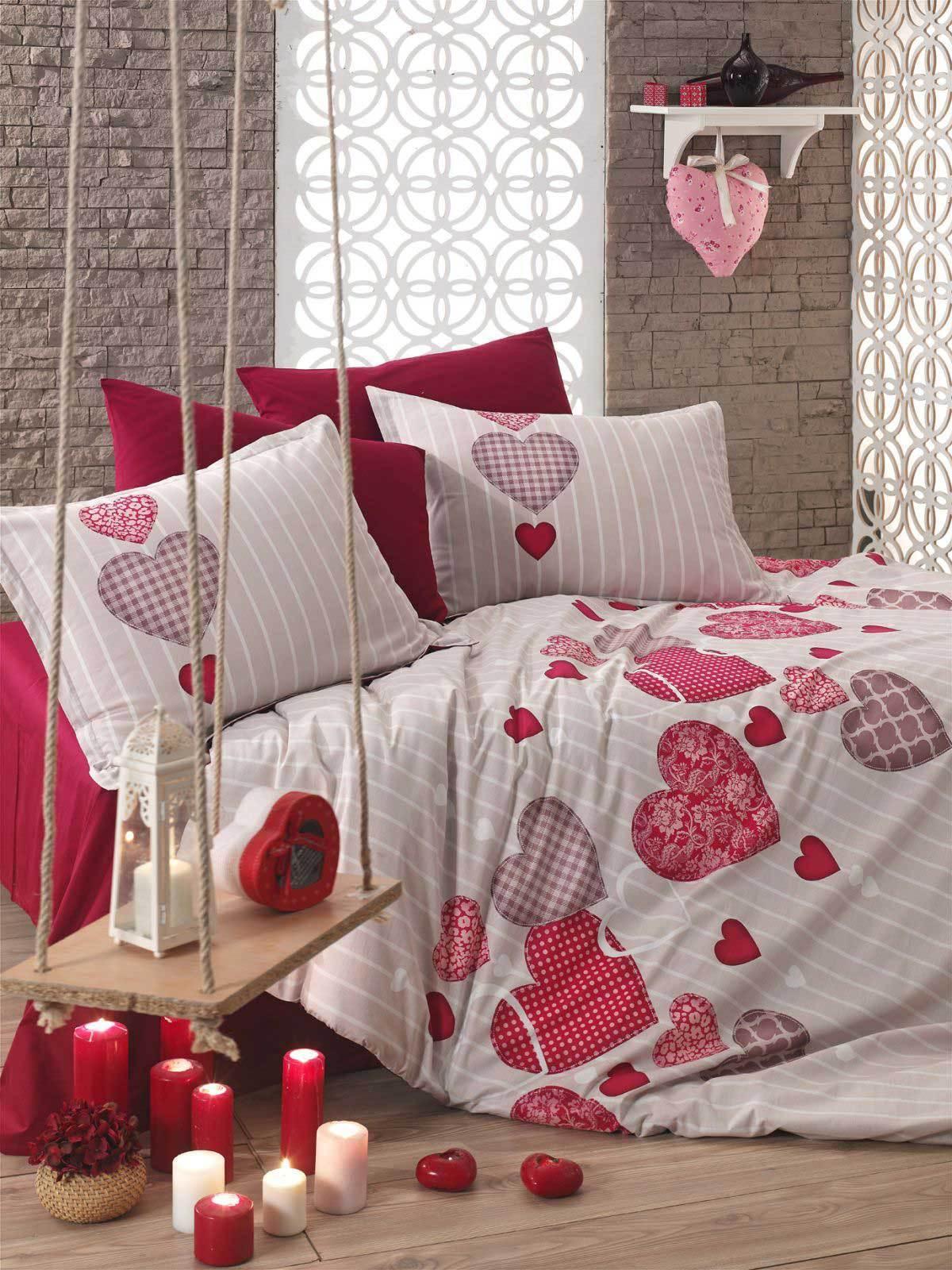 Bettwäsche 220x240 cm Bettgarnitur Bettbezug Baumwolle Kissen 6 tlg HEART ROT