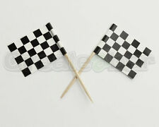 72 Motor Racing Themed Chequered Flag Buffet Picks / Sticks - F1 Cake Toppers