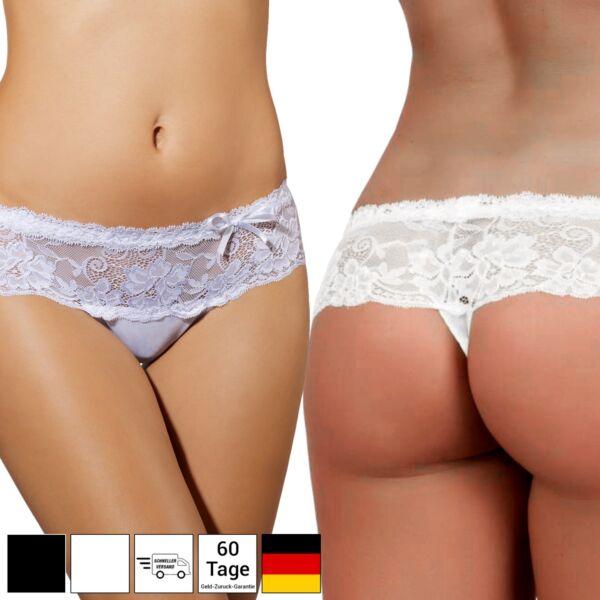 Lingerie Dessous Damen String Tanga Reizwäsche Spitze – Weiß Schwarz – S M L XL