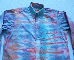 Tie-Dye-Blue-Orange-Striped-Long-Sleeve-Button-Up-Shirt-Large-Mens-Psychedelic