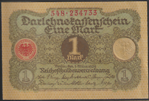 GERMANY-BANK-NOTE-1920-1-MK-NO-FOLD-NO-TEAR-NO-HOLE-SIZE-9CMX6CM