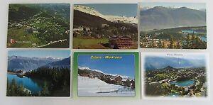 Postkarten-Lot-Schweiz-6-x-Crans-Montana-Kanton-Wallis-Helvetia-gelaufen-gebr