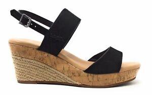 UGG-Australia-Womens-Elena-Wedge-Sandal-Black-Leather-Espadrille-Size-9-5-M