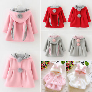 889ee7f3fe7f Baby Girl Kids Rabbit Ear Bunny Hoodie Coat Hoody Winter Jacket ...