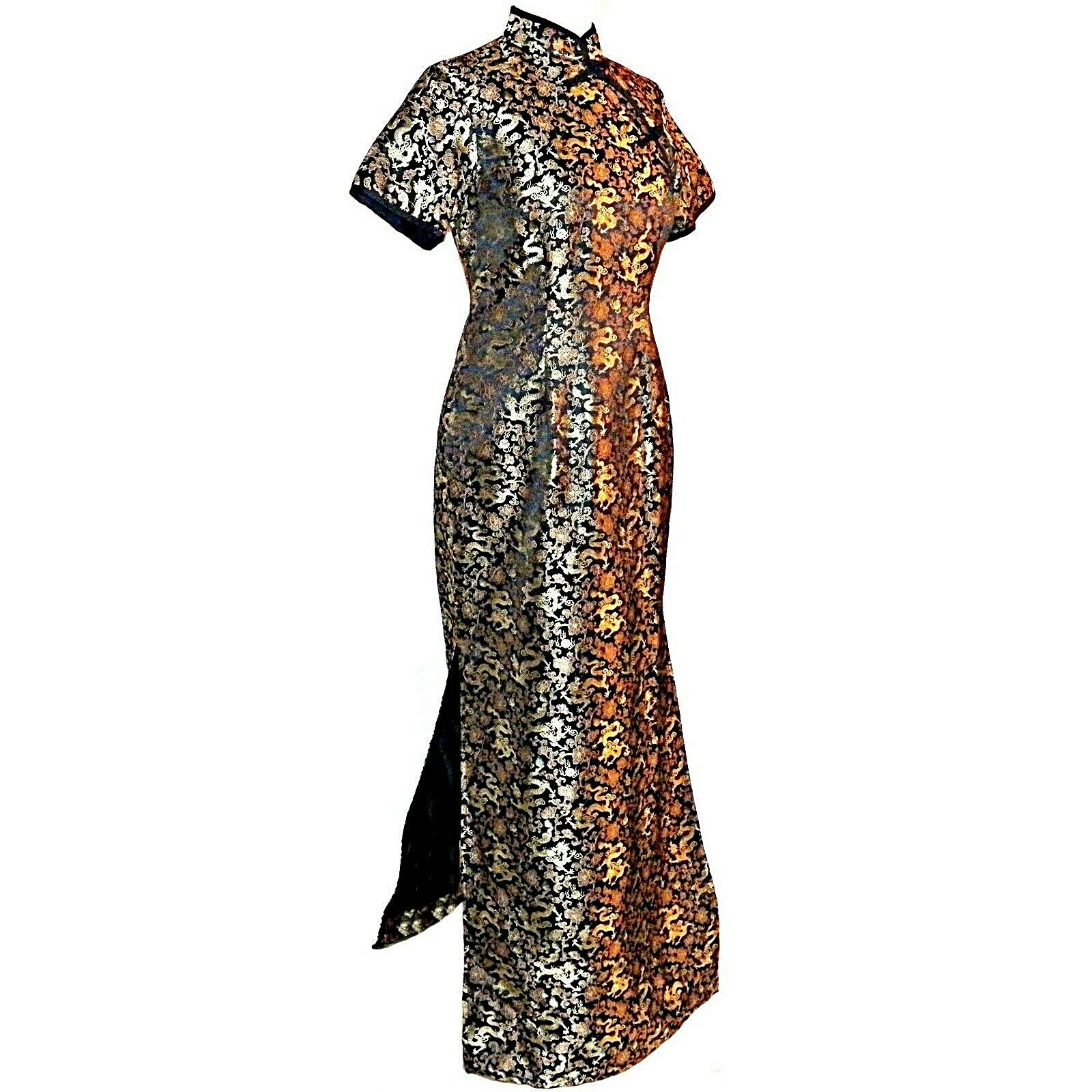 Custom Hoch Cheongsam Schwarz Gold Drachen Damen Qípáo Pin Up Maxi Kleid GRÖSSE