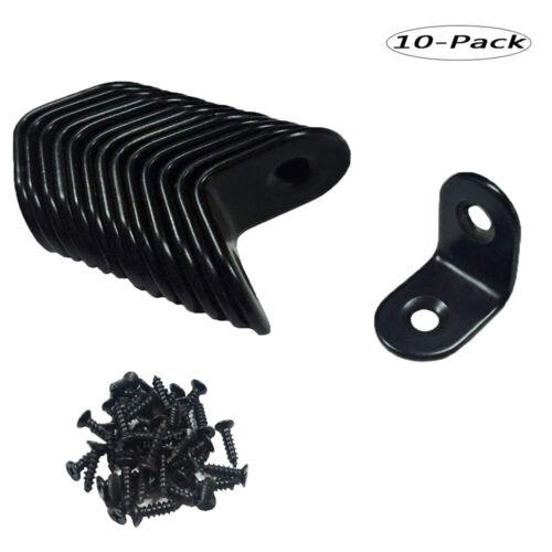 10Pcs Stainless Steel Right Angle Bracket L Shape Corner Brace with Screws Black