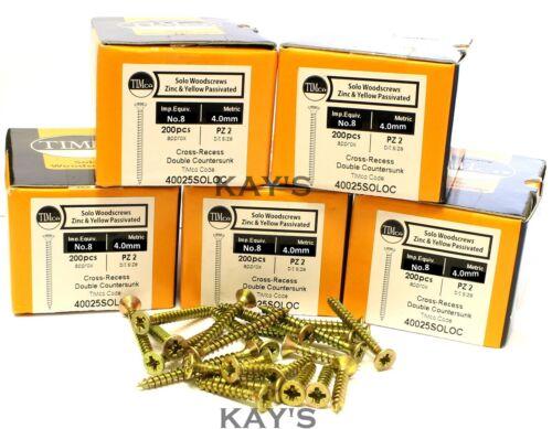 BULK TRADE PACK OF 1000 4mm POZI COUNTERSUNK WOOD SCREWS YELLOW ZINC PLATED No.8