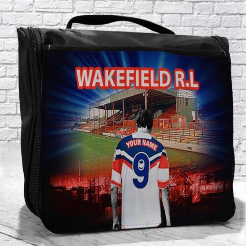 Personnalisé wakefield trinity rl rugby toiletry travel suspendus lavage cadeau sac