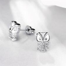 Korean Mini Crystal Rhinestone Cute OWL Unique Ear Stud 925Silver Bling Earrings