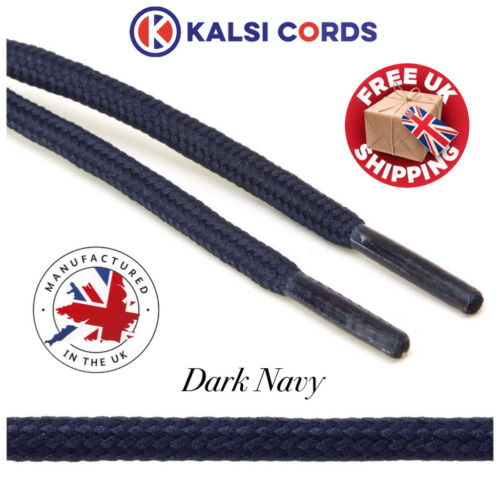 DARK NAVY ROUND CORD SHOE LACES STRONG THICK ROPE LACE 1 PAIR SPORT TRAINER BOOT