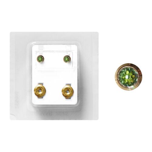 1 pares médicos pendientes Studex dorado zarge con piedra en verde 4mm