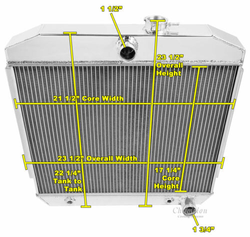 """2 Row 1/"""" Tubes Western Champion Radiator for 1955 1956 1957 Chevrolet Cars"""