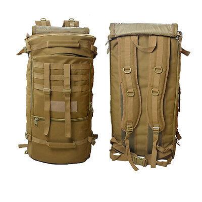 60L Outdoor Tactical Molle Military Rucksacks Backpack Travel Camping Bag Khaki
