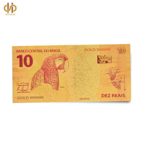 Colorful Gold Banknote Brazil 10 R$ Reais Paper Money Gold Foil Note