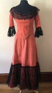 antique victorian gay 90s dress bodice corset skirt red