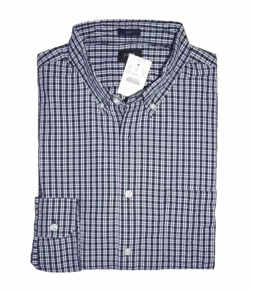 J.Crew Factory - Men's L - Slim Fit - NWT - Navy bluee Plaid Washed Cotton Shirt