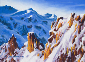 Original Acrylic Painting of Snowy Mountains 12x16 Landscape by Timothy Stanford