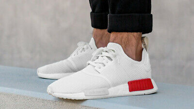 Adidas Originals NMD R1 BOOST Nomad B37619 White Off White Lush Red Men 8 Shoes 191039398852 | eBay