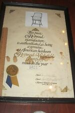 RARE DOUBE SIGNED w SEAL HEYWOOD WAKEFIELD CO. 1922 CERTIFICATE OF AUTHENTICITY