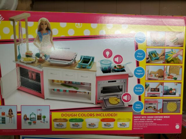 Mattel FRH73 Barbie Kitchen Playset with Doll with 5 Dough Colors and 20 Accessories for sale online