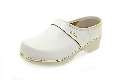 gerla comfort casual shoes wood clog white leather 40 new