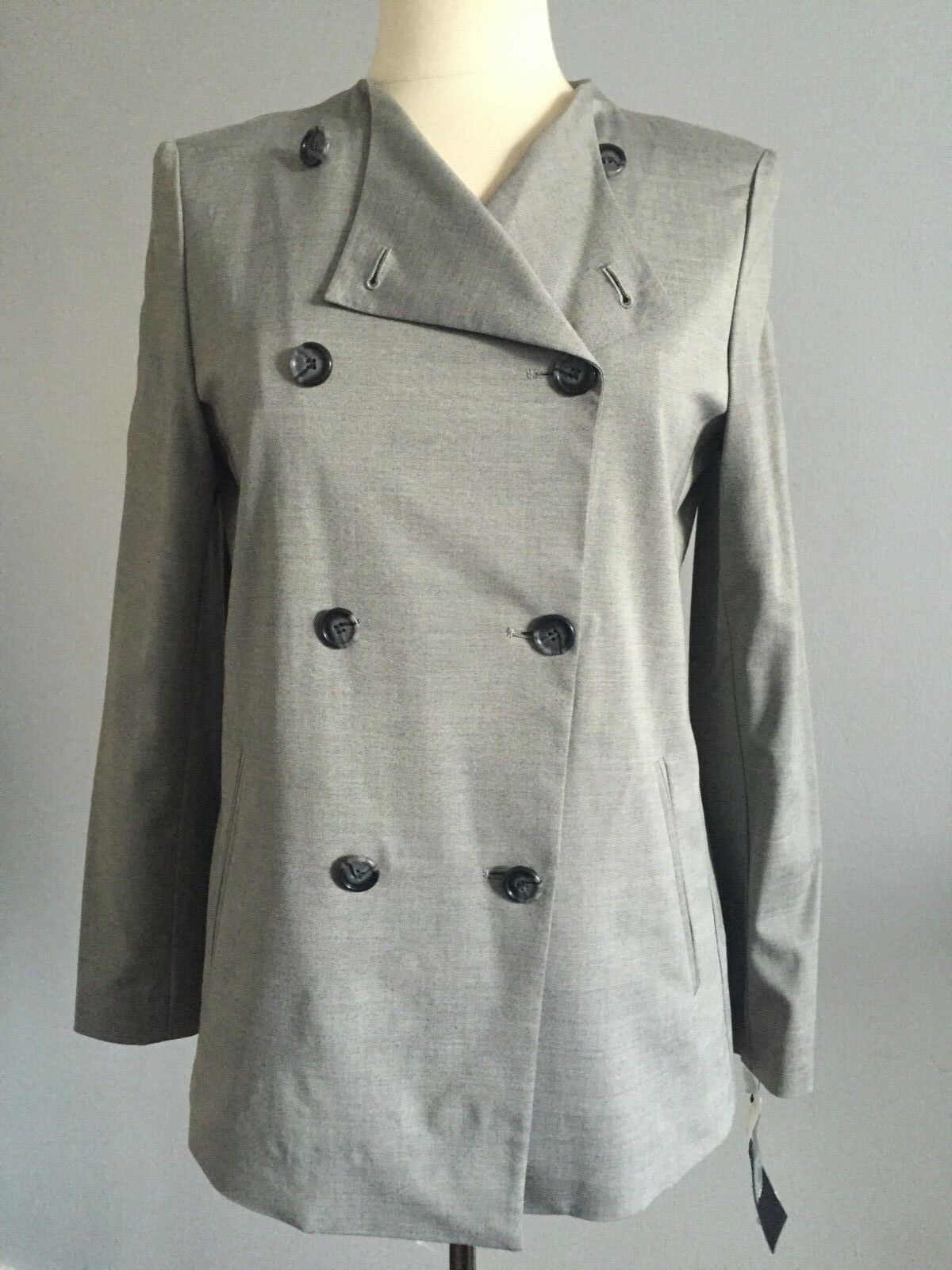 NWT  445 DKNY Aluminum Double Breasted Wool Blend Collarless Long Blazer size 6