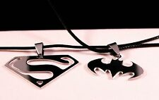 Superman/Batman Stainless Steel Pendant Necklace w/Free Jewelry Box and Shipping