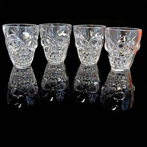 4 Halloween Decorations Tableware Claer Shot Glasses Spooky 3D Skull Shape