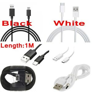 Black-White-USB-C-Type-C-3-1-Connector-Data-Sync-Charger-Charging-Cable-Cord-1M
