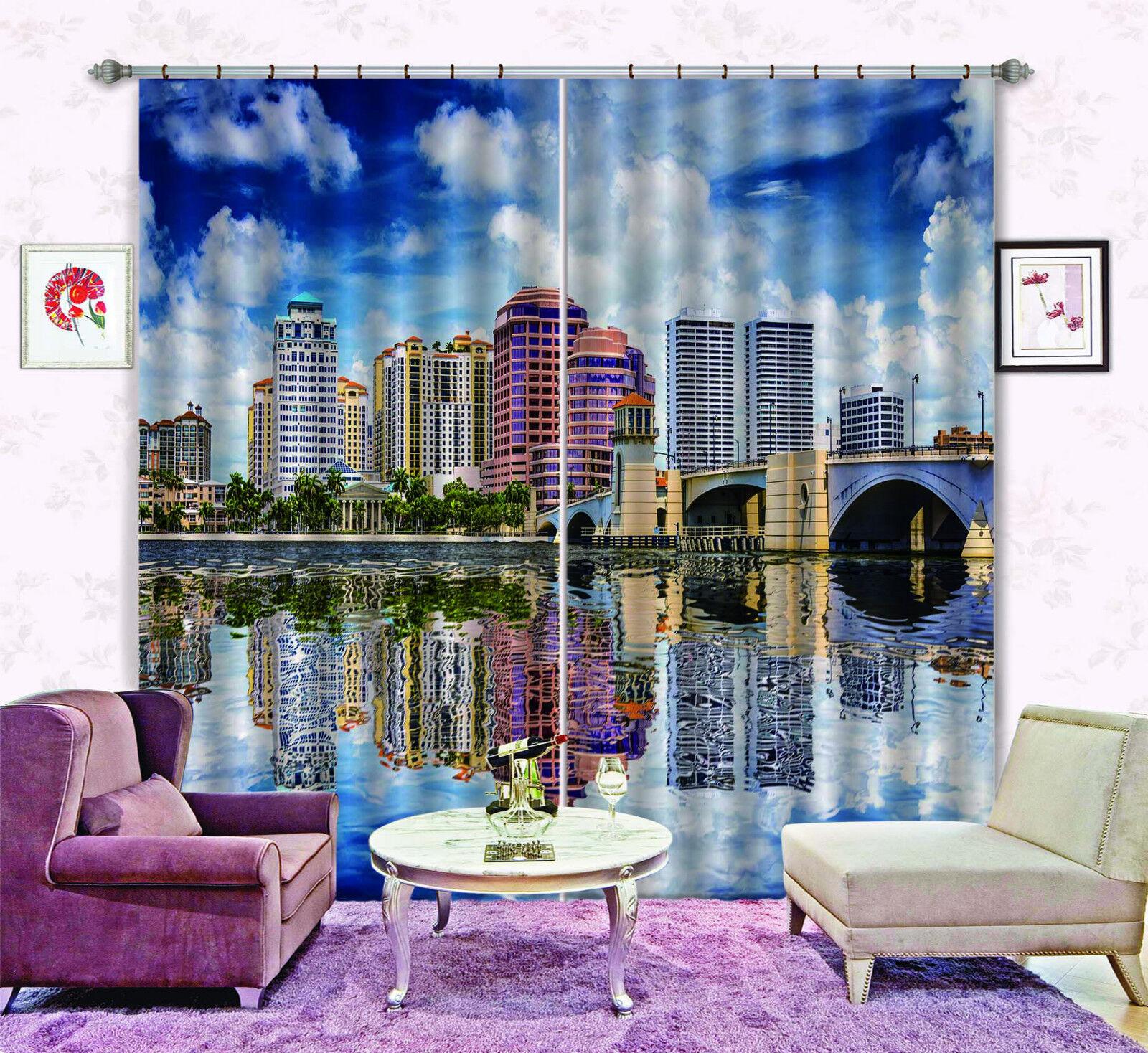 3d ciudad edificio 54 bloqueo foto cortina cortina de impresión sustancia cortinas de ventana
