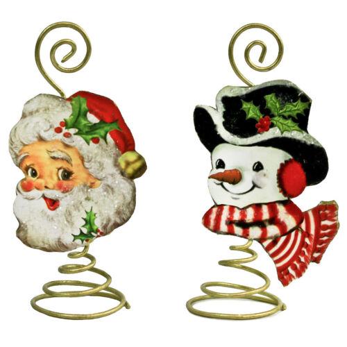Set//2 Bethany Lowe Santa Snowman Tin Coil Placecard Holder Retro Christmas Decor