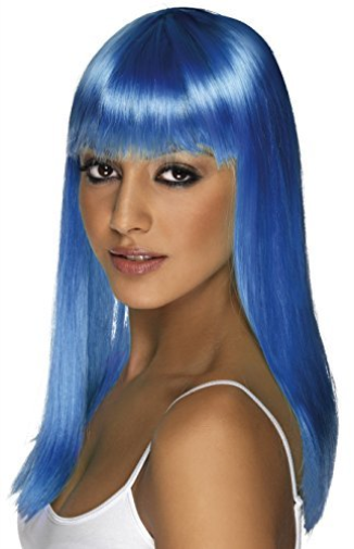 Glamourama Wig, Neon Blue, Long, Straight with Fringe COST-ACC NEW